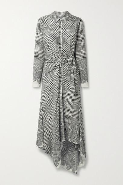 Veronica Beard - Ondine Asymmetric Printed Silk-blend Crepe De Chine Shirt Dress - Off-white