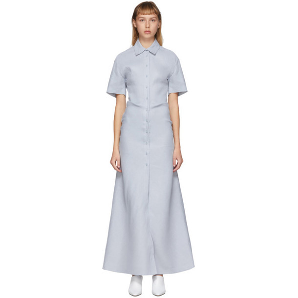 Off-White Blue Linen Long Shirt Dress