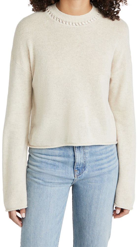 Theory Cashmere Cropped Pullover in ecru