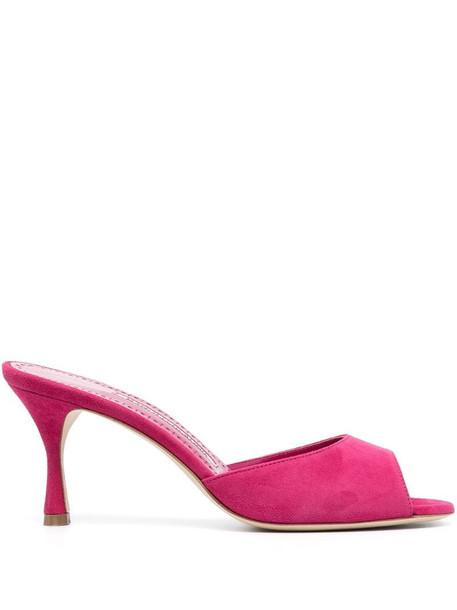 Manolo Blahnik slip-on suede sandals in pink