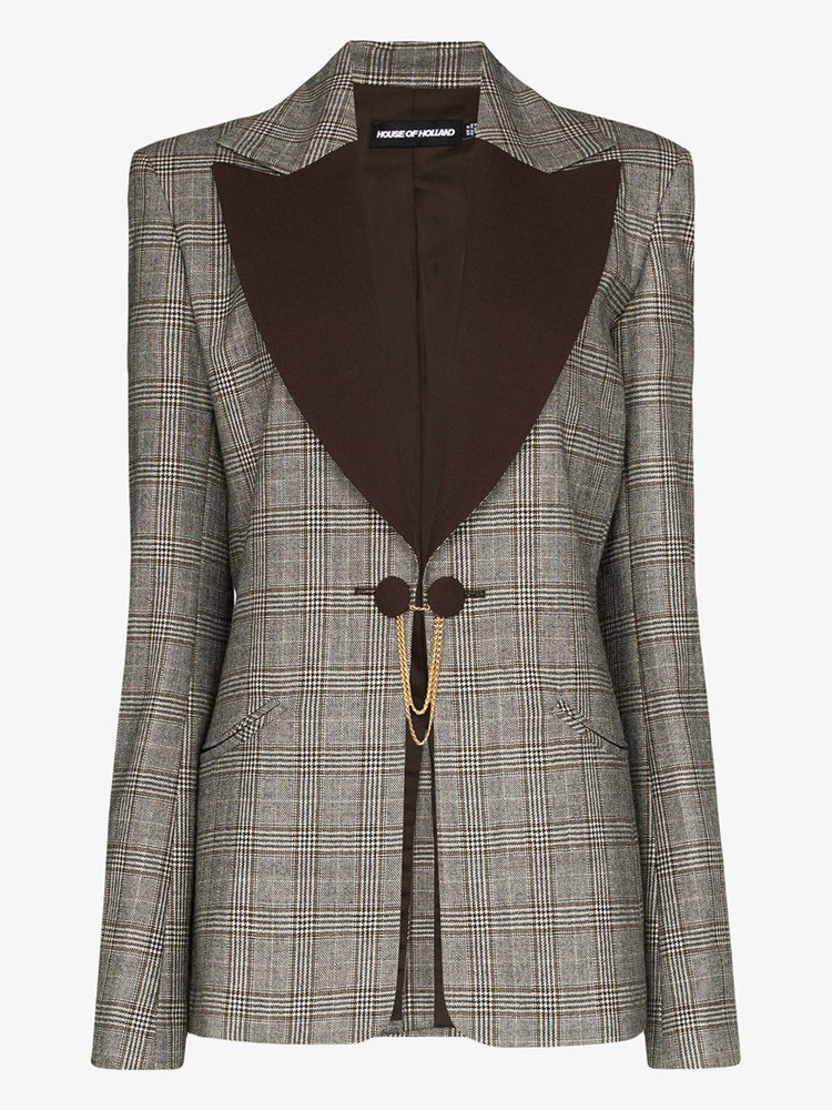 House of Holland contrast lapel checked wool blazer in brown
