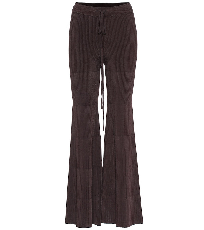 Peter Do Flared ribbed pants in brown
