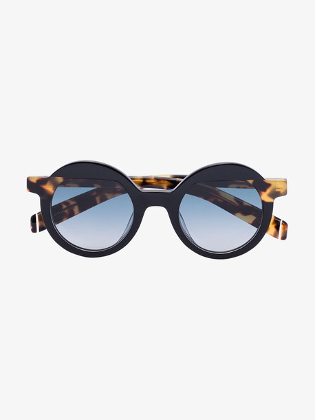 Kaleos black and brown pollitt round sunglasses