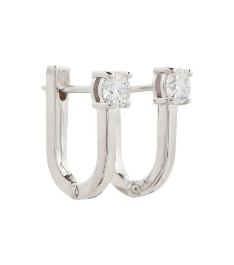 Melissa Kaye Aria U 18kt white gold earrings with diamonds in silver