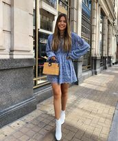 dress,blue dress,lace dress,mini dress,long sleeve dress,ankle boots,white boots,boxed bag