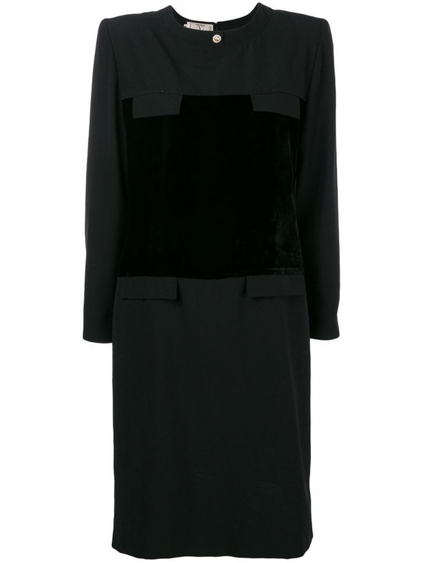 Valentino Pre-Owned long-sleeve panelled dress in black