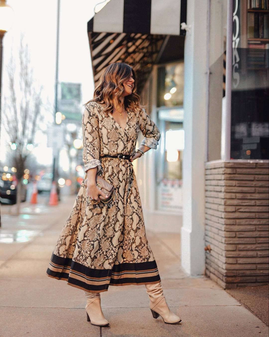 dress midi dress snake print long sleeves belted dress knee high boots gucci bag