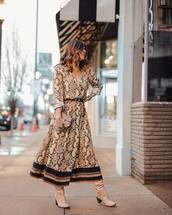 dress,midi dress,snake print,long sleeves,belted dress,knee high boots,gucci bag