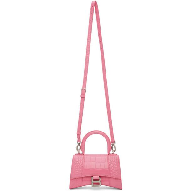 Balenciaga Pink Croc XS Hourglass Bag