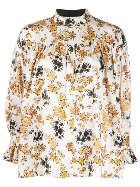 Victoria Victoria Beckham tie sleeve oversized shirt in yellow