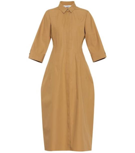 Jil Sander Collared cotton maxi dress in beige