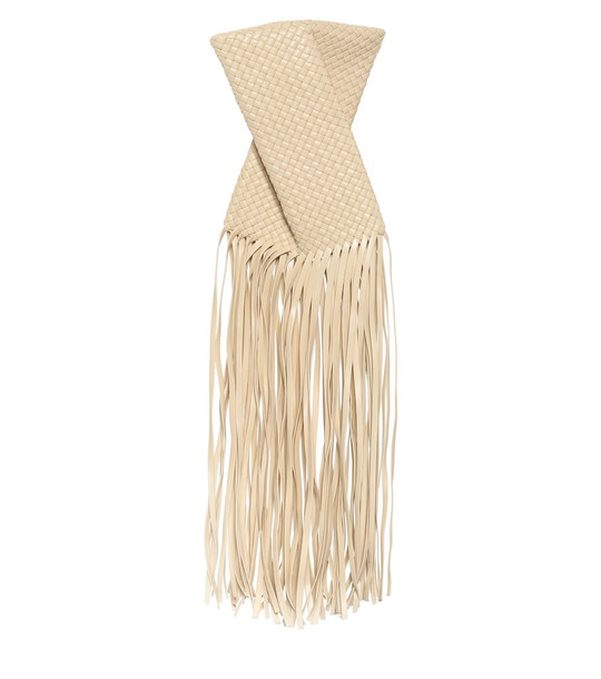 Bottega Veneta BV Fringe Crisscross leather clutch in beige