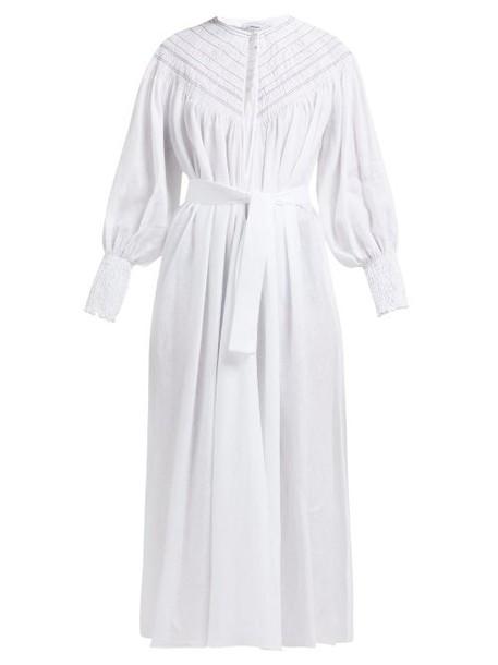 Gabriela Hearst - Margarita Smocked Linen Midi Dress - Womens - Ivory Multi