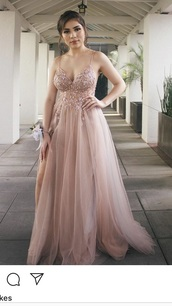 dress,blush,diamonds,a-line,slit,prom dress,pink,cute,chiffon,a line dress,flowy dress,flowy,prom,flowers