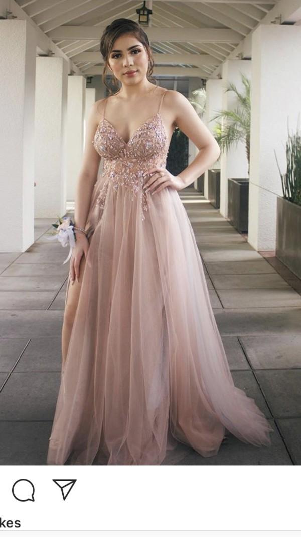 dress blush diamonds a-line slit prom dress pink cute diamonds chiffon a line dress flowy dress flowy prom flowers