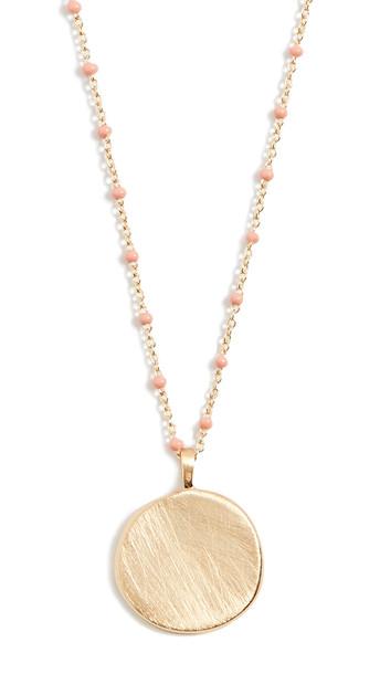 Gorjana Capri Coin Necklace in coral
