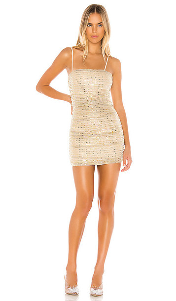 superdown Naya Mini Dress in Metallic Gold