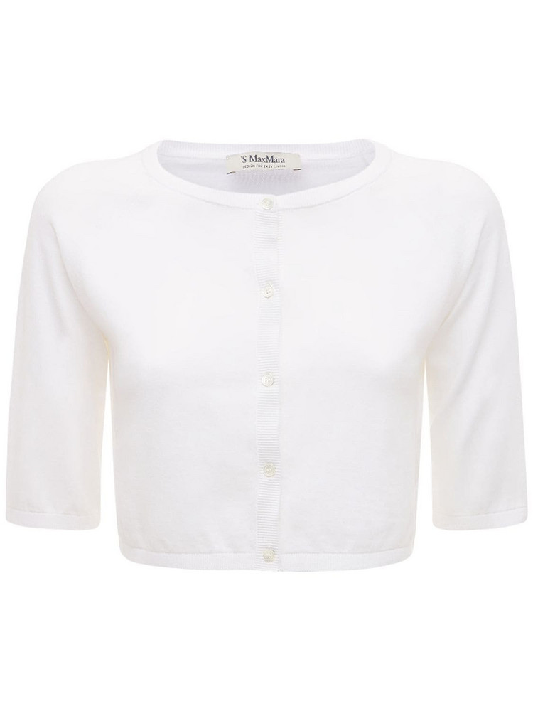 MAX MARA 'S Cropped Cotton Knit Cardigan in white