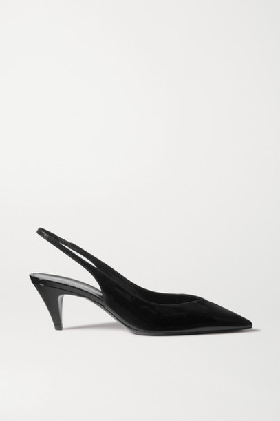 SAINT LAURENT - Kiki Patent-leather Slingback Pumps - Black