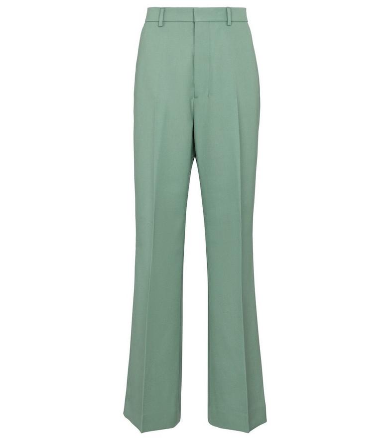 AMI PARIS High-rise virgin wool gabardine pants in blue