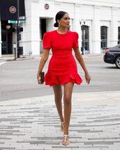 dress,red dress,mini dress,short sleeve dress,flat sandals