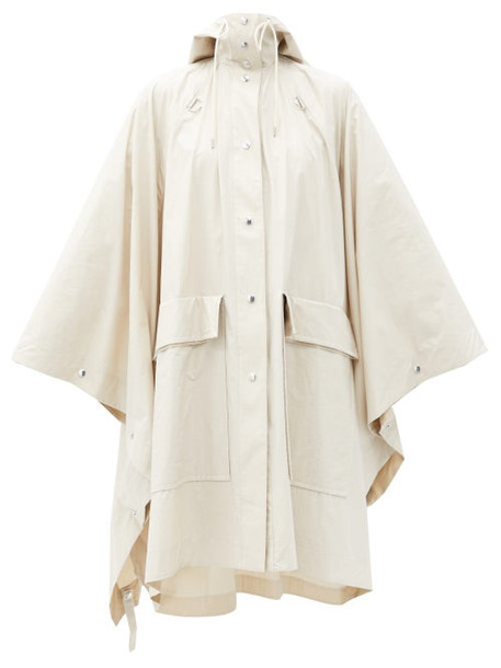 Lemaire - Hooded Cotton-canvas Cape Coat - Womens - Cream