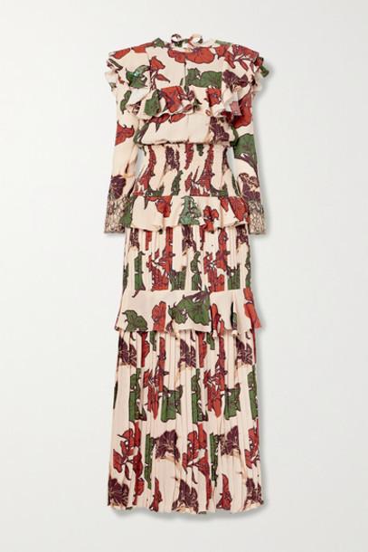 Johanna Ortiz - Celebration Of Splendor Lace-trimmed Ruffled Crepe De Chine Maxi Dress - Blush