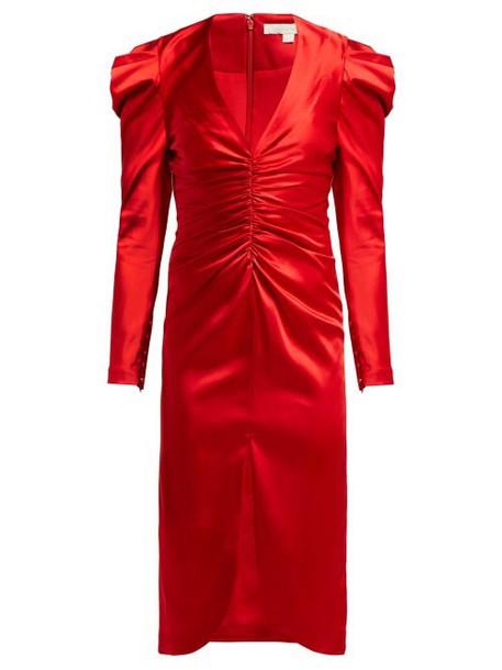 Jonathan Simkhai - Puff Sleeve Ruched Satin Midi Dress - Womens - Red