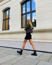shoes,black boots,biker boots,bag,plaid skirt,skirt,top