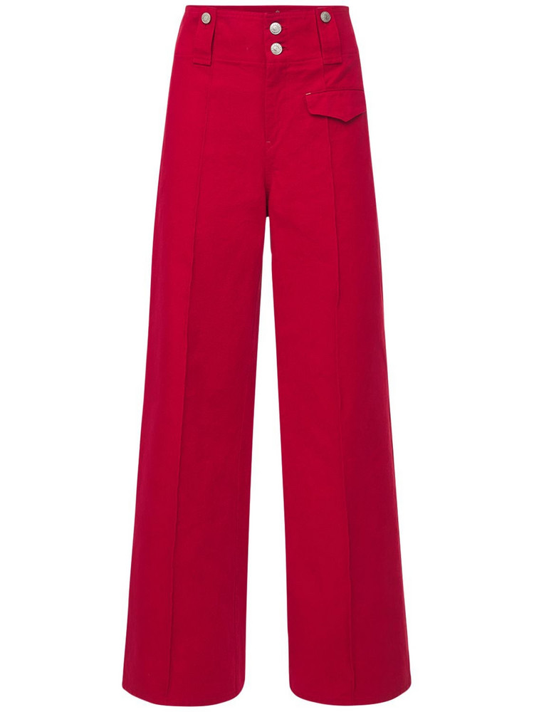 ISABEL MARANT Dilemony Flared Cotton Pants in red