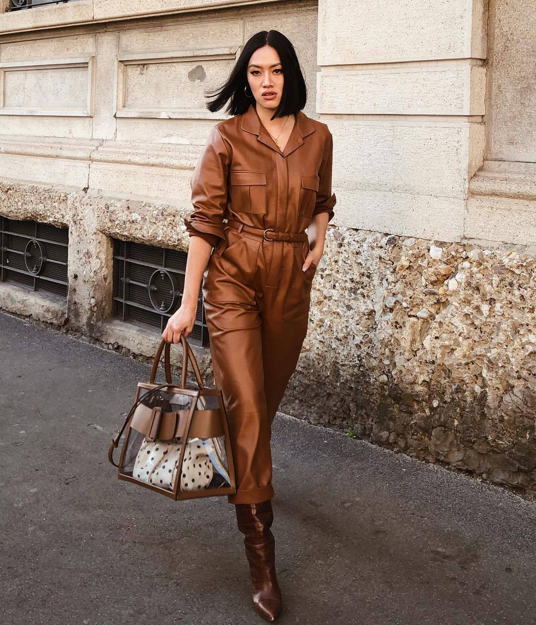 pants brown pants leather pants shirt leather knee high boots pvc shoulder bag