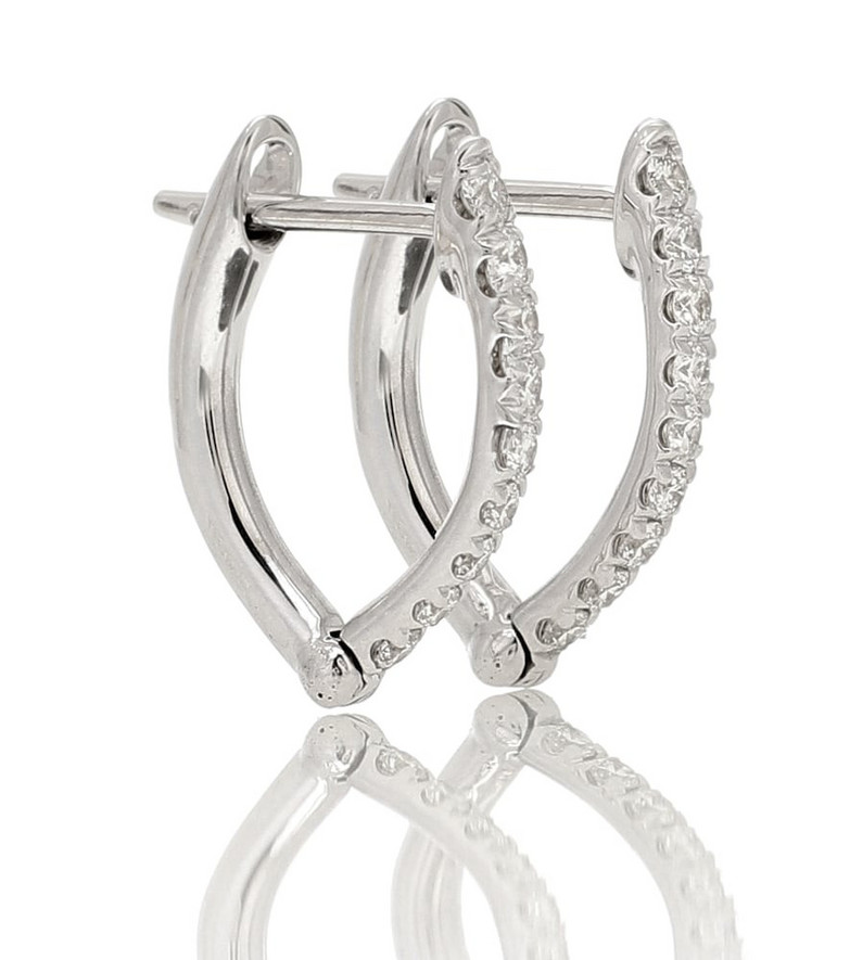 Melissa Kaye Cristina Small 18kt white gold earrings with diamonds in silver