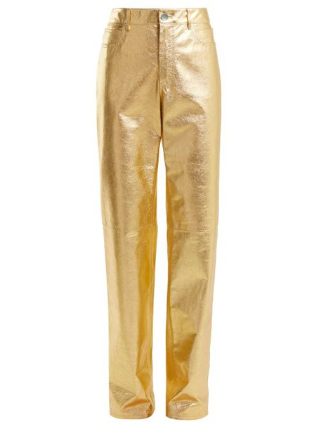 Calvin Klein 205w39nyc - Straight Leg Leather Trousers - Womens - Gold