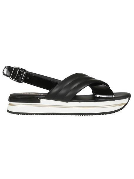 Hogan Cross Strap Sandals in black