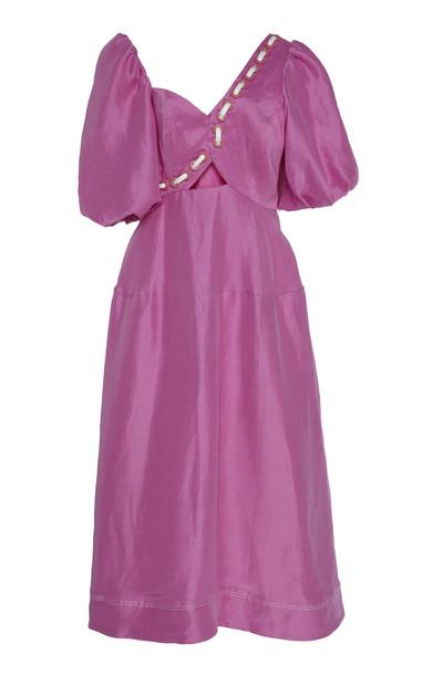 Aje Coda Eyelet Linen-Silk Blend Midi Skirt Size: 6 in pink