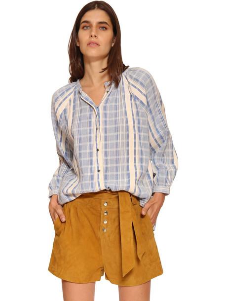 BA & SH East Striped Cotton Poplin Shirt in blue / white