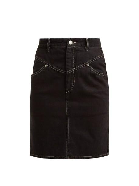 Isabel Marant - Lorine Denim Pencil Skirt - Womens - Black
