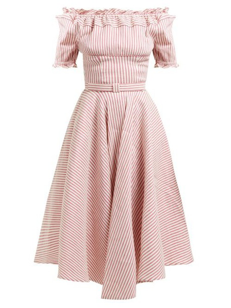 Luisa Beccaria - Striped Off The Shoulder Linen Blend Midi Dress - Womens - Red Stripe