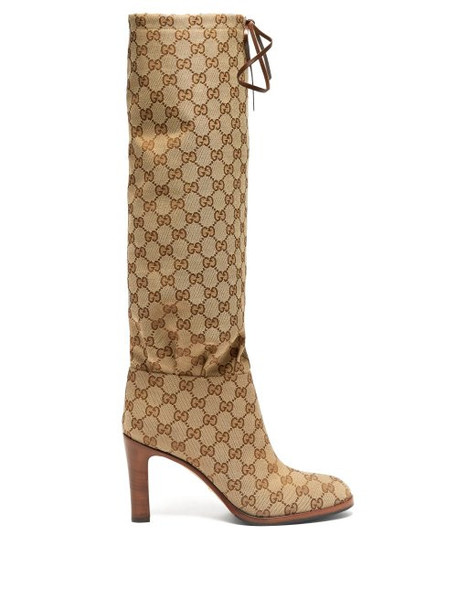 Gucci - Lisa Gg Supreme Jacquard Boots - Womens - Beige Multi