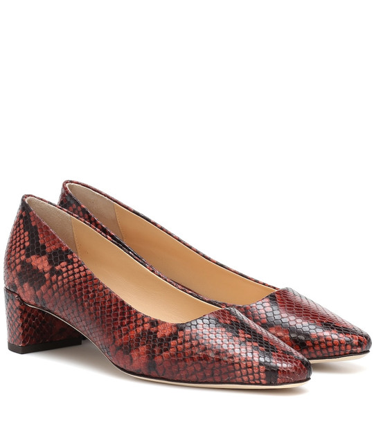 By Far Andrea snake-effect leather pumps in red