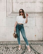 top,lace top,white top,crop tops,skinny pants,white sandals,bag