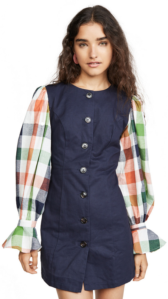 ENGLISH FACTORY Gingham Sleeve Combo Dress in navy