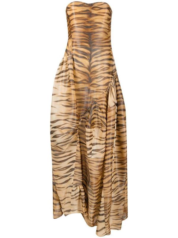 Ermanno Scervino animal-print strapless gown in neutrals