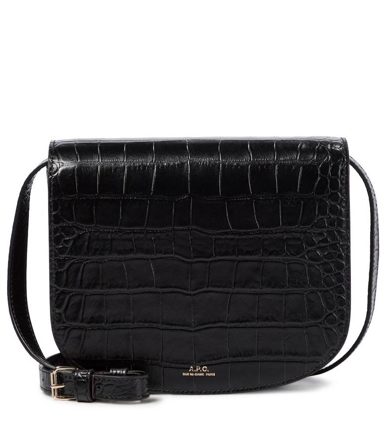 A.P.C. Dina croc-effect leather shoulder bag in black