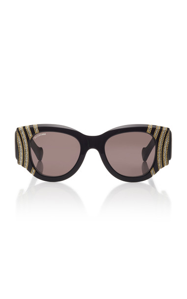 Balenciaga Crystal Round-Frame Acetate Sunglasses in black