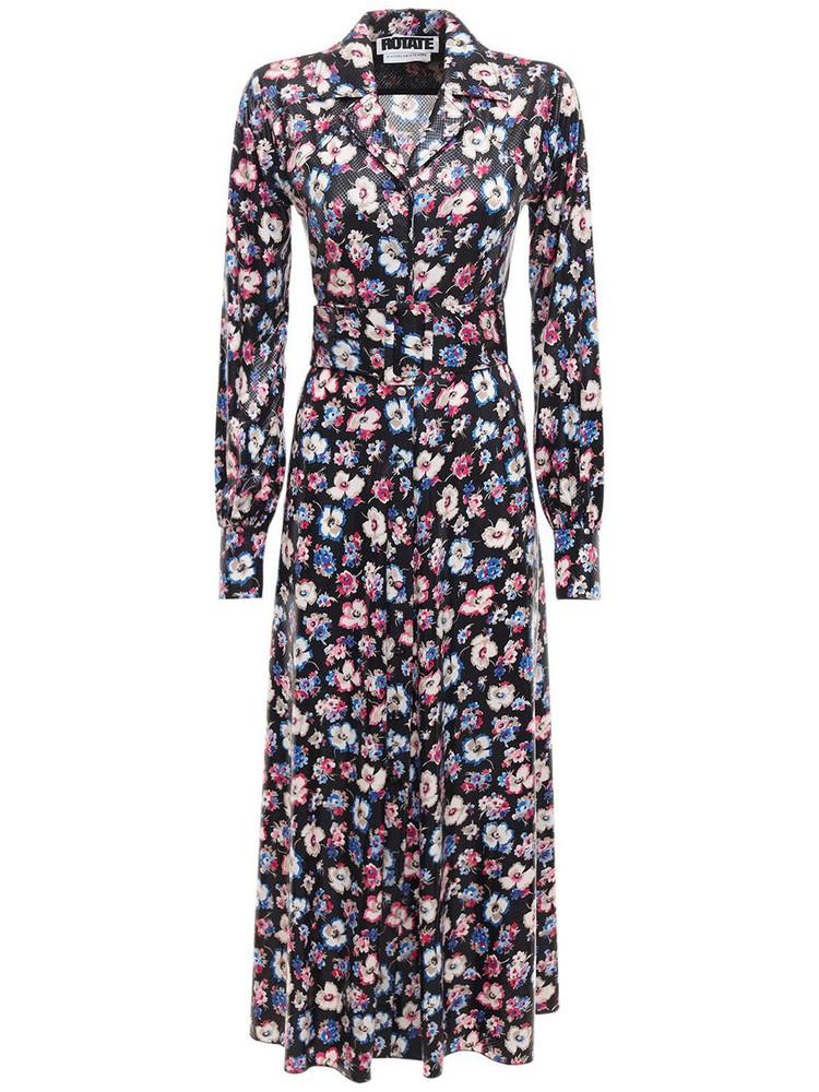 ROTATE Jojo Floral Print Midi Shirt Dress