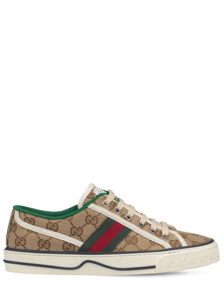 10mm Gucci Tennis 1977 Canvas Sneakers in brown / green
