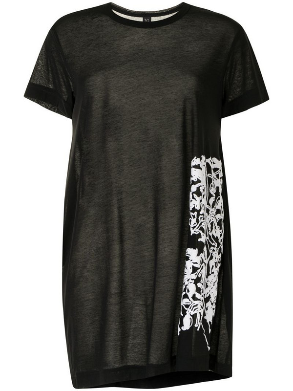 Y's floral print T-shirt in black
