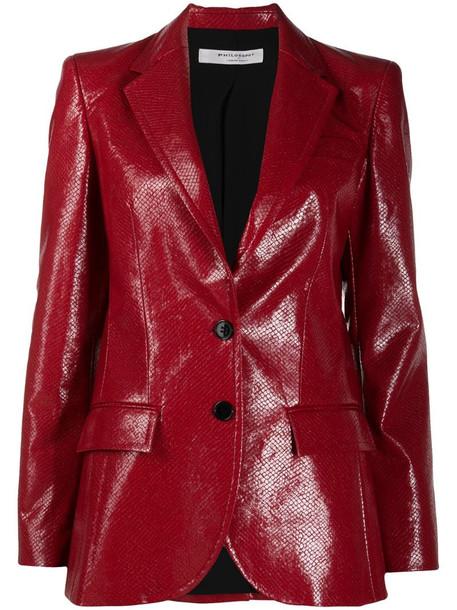 Philosophy Di Lorenzo Serafini leather look blazer in red