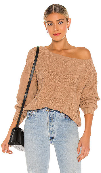 Callahan Lee Off The Shoulder Sweater in Tan in camel